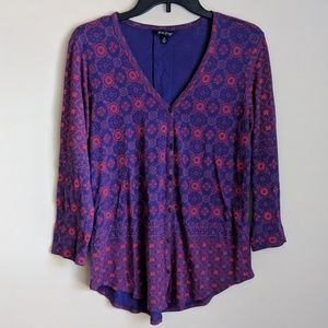 Lucky Brand | Purple and Red Printed Blouse